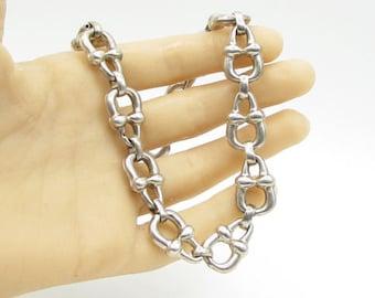 Italy 925 sterling silver - kettle bell pattern necklace & earrings set - t1028