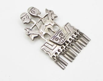 925 silver - antique multi dangle sticks tribal slide drop pendant - p1074