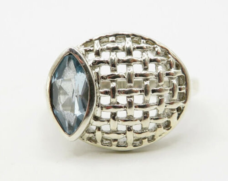 faceted blue topaz woven net basket solitaire ring sz 8 925 silver r1577