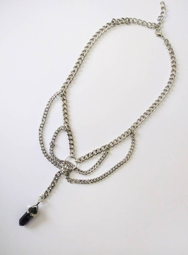 Multi-layer Chain Amethyste Stone Necklace-Lariat