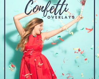 30 Confetti Overlays, Photoshop Overlay,  Blowing Confetti Overlays, Birthday Overlays, Digital Backdrop, Wedding Overlays, Photo Effect