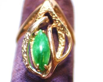 Apple Green Jadeite Ring, Jade Ring, Jadeite Ring, Bright Apple Green Jade Ring with 14 kt. Gold with Diamonds