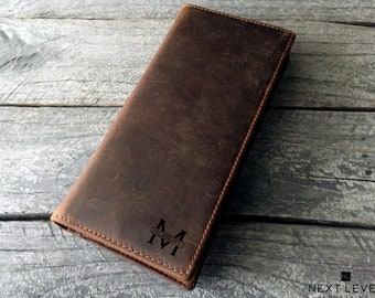 Abstract Music Genuine Leather Mens Bi-fold Wallet Personalized