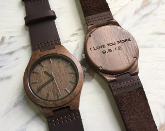 5 Year Anniversary Gifts for Men Boyfriend Christmas Gift Personalized Gift for Men Gifts for Husband Mens Engraved Wooden Watch