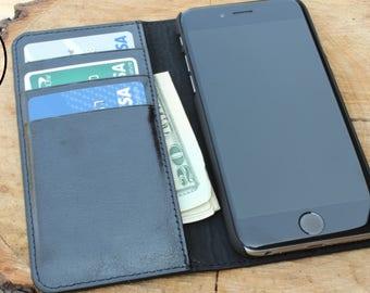 Black iphone 7 Wallet Case, iphone 7 Plus Wallet Case, iphone 7 plus, Engraved Genuine Leather iPhone Wallet Case, Personalized Mens Wallet