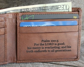 Religious Gifts For Men Leather Wallet Engraved Unique Gift Christian Man Dad Best Friend Brother Son