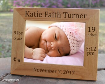 Personalized Newborn Baby Gift Photo Frame Custom Engraved Wood