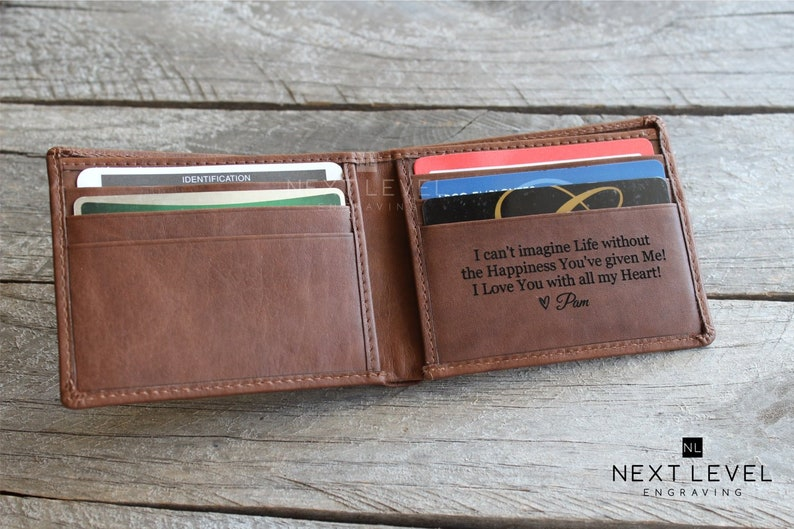 87bc0f60965f Mens Bifold Leather Wallet Personalized Gift for Men Wallets