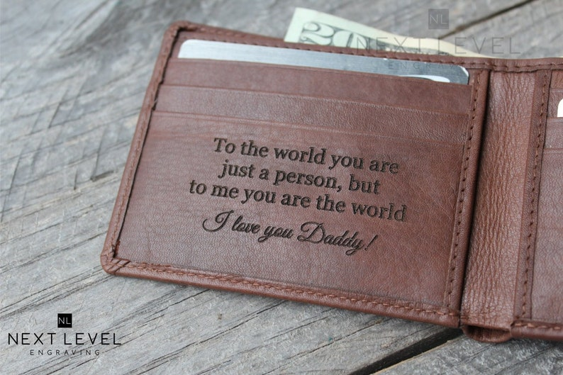 bd1913ee0df Dad Gift from Son - Father Gift Personalized Gifts for Dad Mens Custom  Fathers Day Gifts for Men Leather RFID Bifold Wallet, Daddy Gifts