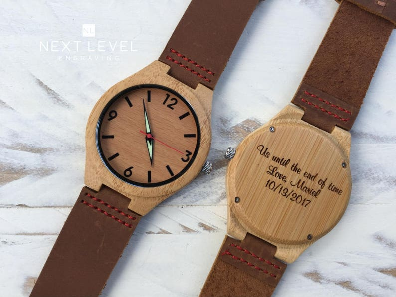 Custom Watch Men Wooden Engraved Brown Genuine