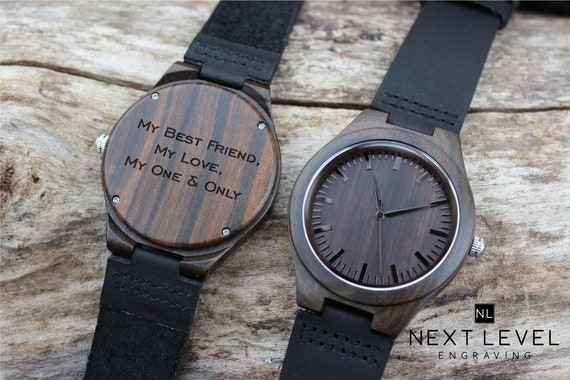 Engraved Wooden Watch Valentine Gifts For Men Gifts For Etsy