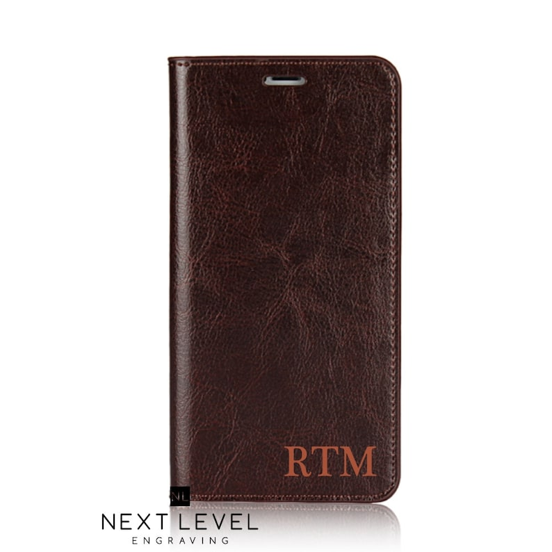 huge selection of 75f10 0fb87 Personalized Iphone XS Max Case Leather Wallet Case Brown | Etsy