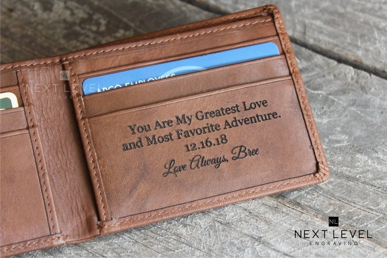 61377f35de2dd Personalized Leather Wallet for Men Personalized Fathers Day Gift from  Daughter, Unique Gifts for Men, Bi-Fold Wallet, Husband Gift