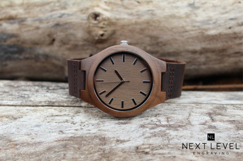 a4056d16d022 3rd Anniversary Gifts for Men Leather Watch Custom Mens Wood
