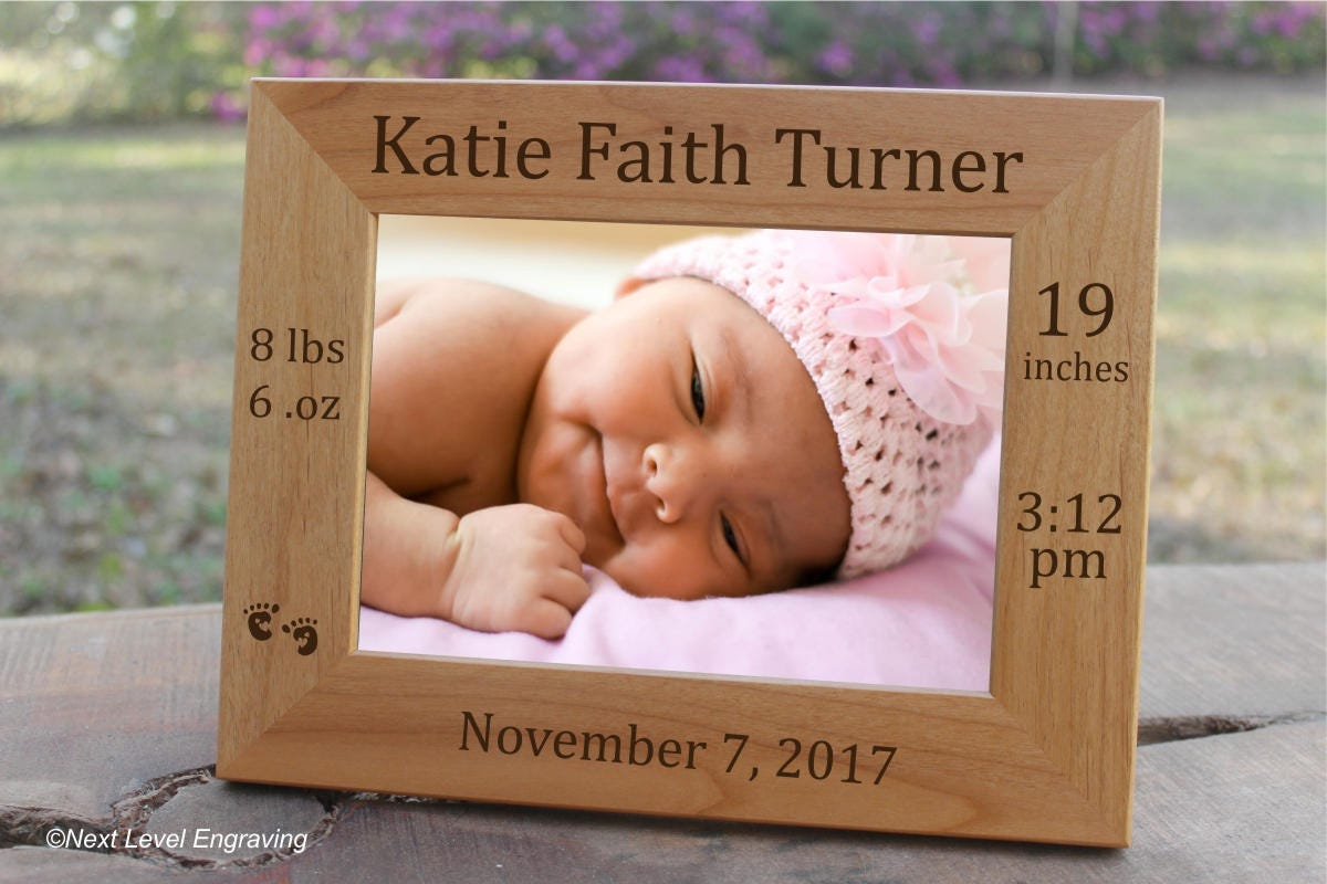 Baby Picture Frame, Baby Keepsake Gift Personalized Baby Stats Photo ...
