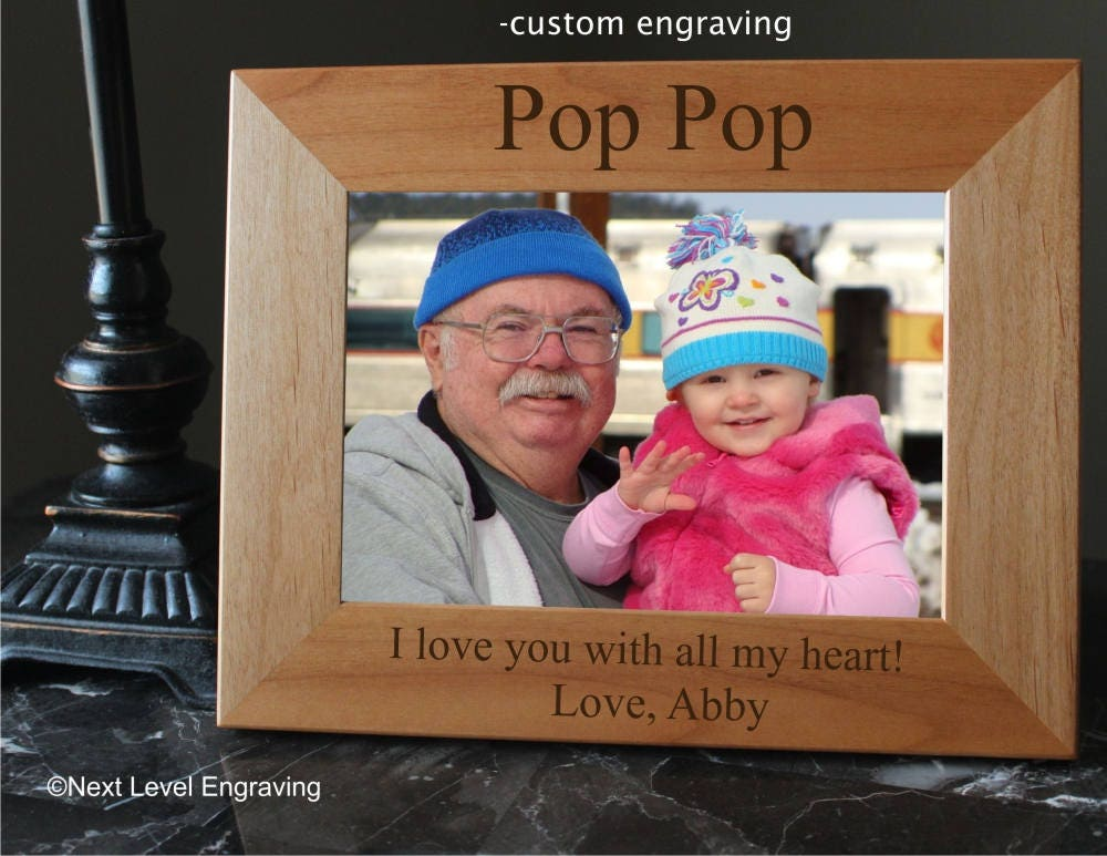 Pop Pop Gifts, Grandparents Picture Frame, Wooden Grandfather Frame ...
