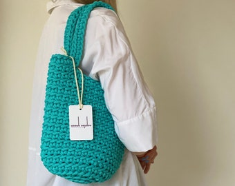 Modern Tote Bag Scandinavian Style Crochet Bag Handmade Rope Bag Knitted Handbag TEAL MINI with Long Handles