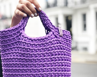 Crochet Tote Summer Bag Knitted Handbag ROYAL PURPLE colour Modern Scandinavian Style