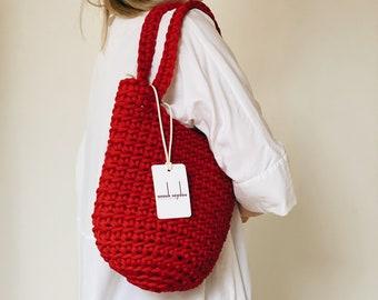 Custom Made Tote Bag Scandinavian Style Crochet Tote Bag Handmade Rope Bag Knitted Handbag CLASSIC RED MINI with Long Handles