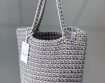Scandinavian Style Crochet Tote Bag Handmade Knitted Handbag Gift for Her STONE GRAY color