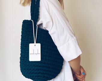 Custom Made Tote Bag Scandinavian Style Crochet Tote Bag Handmade Rope Bag Knitted Handbag DARK TEAL MINI with Long Handles