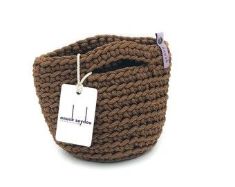 Clutch Bag Scandinavian Style Crochet Evening Bag Handmade Knitted Purse Handbag Gift for Her DARK CHOCOLATE color