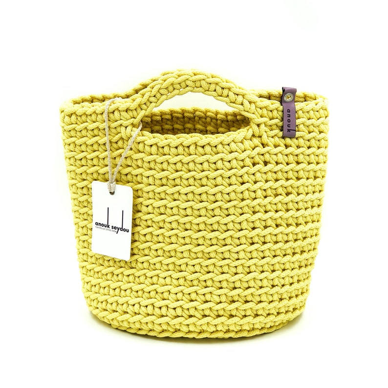 Tote Bag Scandinavian Style Crochet Tote Bag Handmade Bag Knitted Handbag Gift for Her BRIGHT YELLOW color