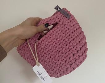 Clutch Bag Scandinavian Style Crochet Evening Bag Handmade Knitted Purse Handbag Gift for Her CHERRY PINK color