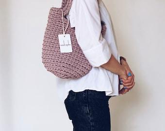 Modern Tote Bag Scandinavian Style Crochet Bag Handmade Rope Bag Knitted Handbag DUSTY LAVENDER MINI with Long Handles