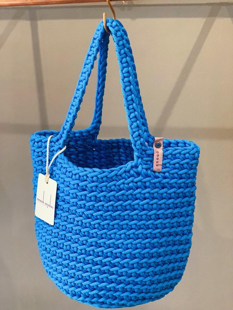 Scandinavian Style Crochet Tote Bag Handmade Knitted Handbag Gift for Her BUBBLE BLUE color