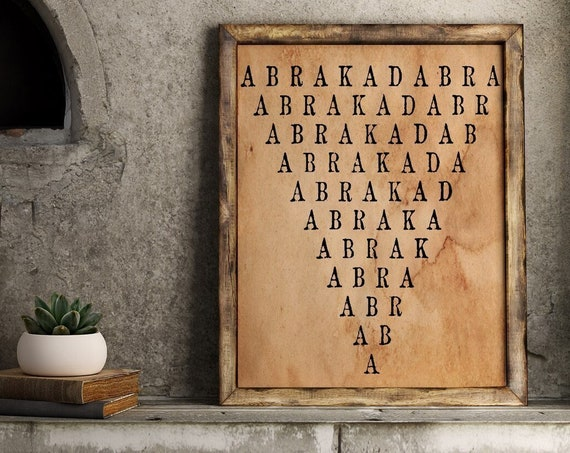 Abracadabra poster, magical print, witchcraft poster, occult poster, coffee dyed paper,, witch, gothic poster, art print,