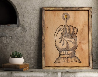 Hand of glory, occult poster, witchcraft poster, witch poster, magic poster, art print, magical print, coffee dyed paper, gothic poster