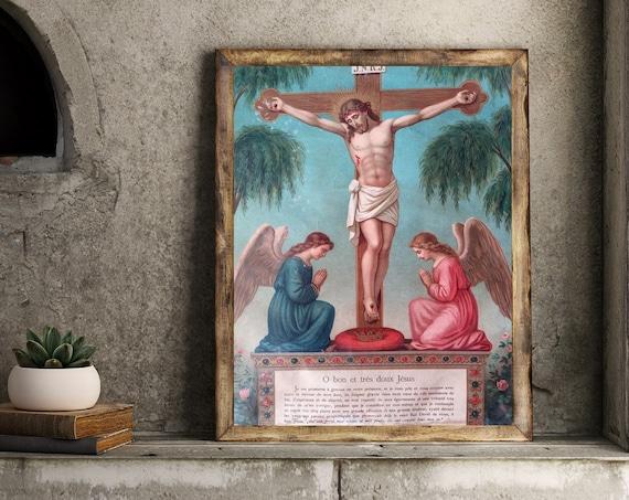vintage chromolitography in french religion Jesus Angel religious decor authentic original illustration france