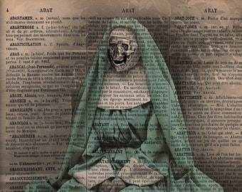 Halloween poster, horror poster, creepy poster, gothic decor, skeleton art print, dictionary poster, French poster,