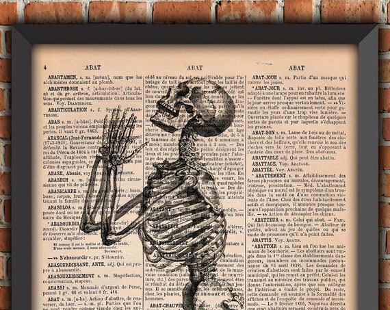 Skeleton prayer poster, Goth poster, praying skeleton, Original Gift, French dictionary Page Print, gift from France
