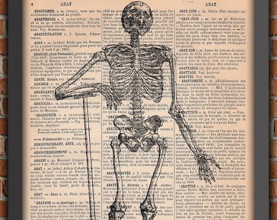Humane standing Skeleton Dark Gothic Punk Halloween Spooky Goth Man Bones Vintage french Art Print Home Decor Gift Original Dictionary Page