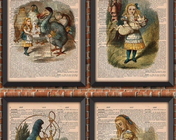 Alice in Wonderland art print set, Alice poster, Alice fan gift, Vintage French dictionary print,  gift from France
