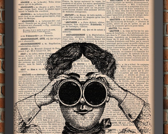 Steampunk woman Victorian Goggles french Art Print Home Decor Gift Poster Original Dictionary Page Print direct from Normandy France