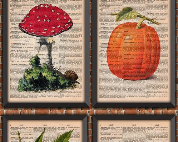 Pack French Autumn Pumpkin Garden apple Halloween mushroom Chestnut Vintage Art Print Home Decor Gift Poster Authentic Dictionary Page Print