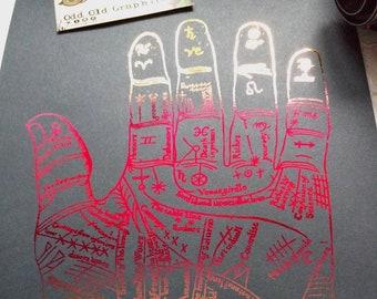 Astrology poster set, metallic poster, hand lines poster, ouija poster, original gift