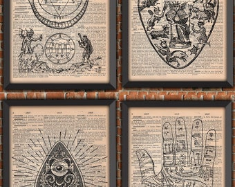 Pack 4  french Occulte Main Grimoire Divination Witchcraft Black Magic Satanism Alchimie Ouija Vintage ArtPrint Original Dictionary Page