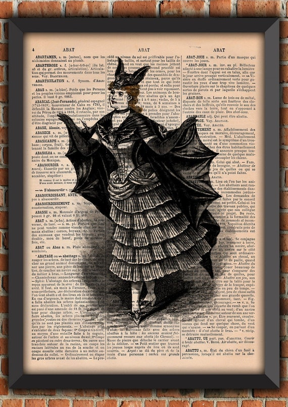 Bat woman Dark Gothic Odd Scary Spooky Goth Vintage Art Print Home Decor Gift Poster Original french Dictionary Page Print