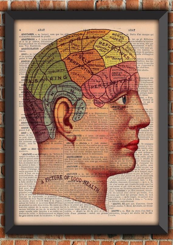 Phrenology head Bizarre artwork Curiosity  Retro Vintage Art Print  Poster Original Dictionary Page french wall art upcycling