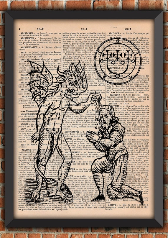 Demon Devil Sigil Spell Witch witchcraft black Magic Vintage grimoire Art Print Home Decor Gift Poster Original Dictionary Page Print french