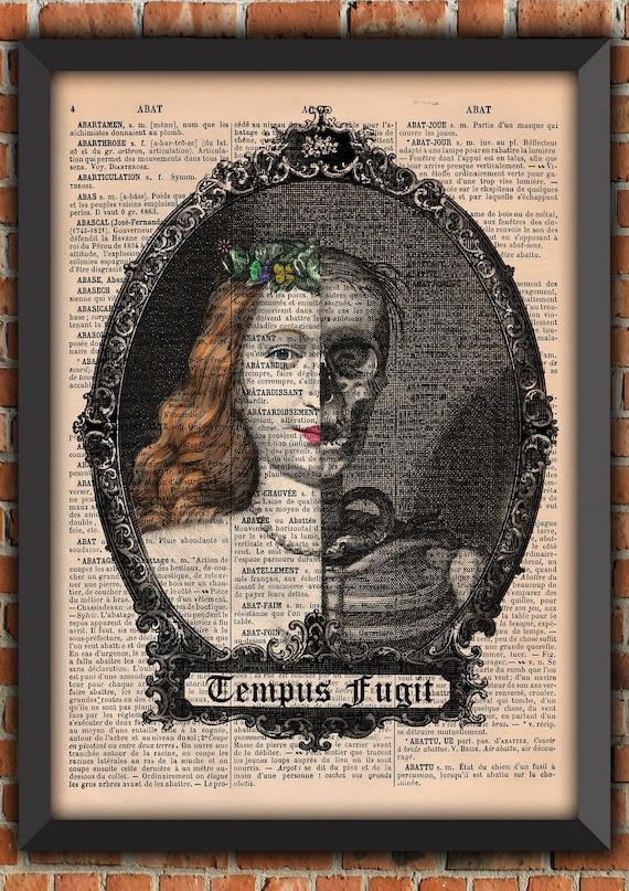 Edgar Poe Skull Gothic Halloween portrait Head Skeleton Vintage Art Print  Home Decor Gift Poster Original Dictionary Book Page Print