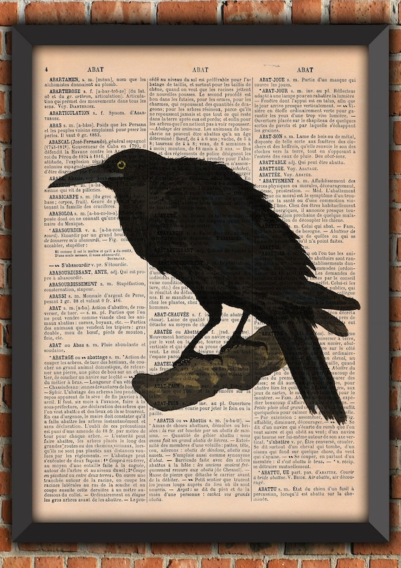 Poe Crow Raven Gothic Punk clean and simple Bird Witch Vintage Art Print  Home Decor Gift Poster Original Dictionary Page French Book  A234