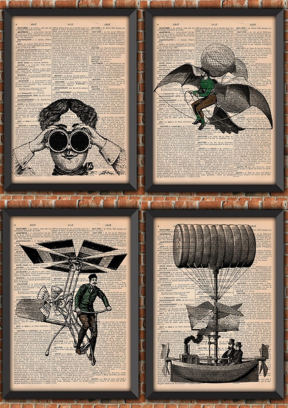 Pack Steampunk flying machine Victorian era Man Flying Vintage Art Print Home Decor Gift Poster Original Authentique french dictionary Page
