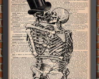 Couple Human Skeletons Kiss Love Lovers Dance Goth Punk Art Print Decor Gift Original Poster Dictionary french Page artwork ribcage bones