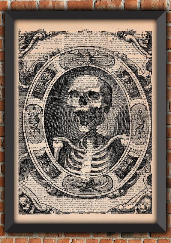 Memento Mori Skeleton Skull Crow Raven Gothic Crane Skeleton Vintage Art Print Home Decor Gift Poster Original French Dictionary Page Print