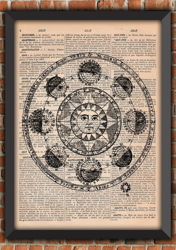 Zodiac Poster, Astrology Poster, Vintage Poster, Wall Decor, Original Gift, Original Poster, french Wall Decor, Dictionary Page Print